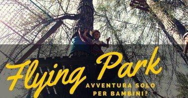flying park parco avventura in trentino un bambino sul percorso a 5 metri dal suolo assicurato sull'albero